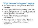 ways parents can support language