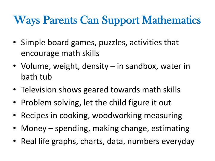 Ways Parents Can Support Mathematics
