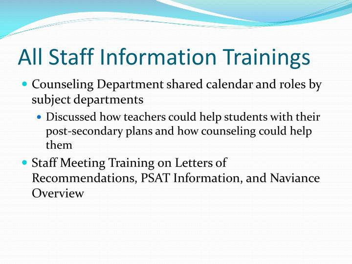 All Staff Information Trainings