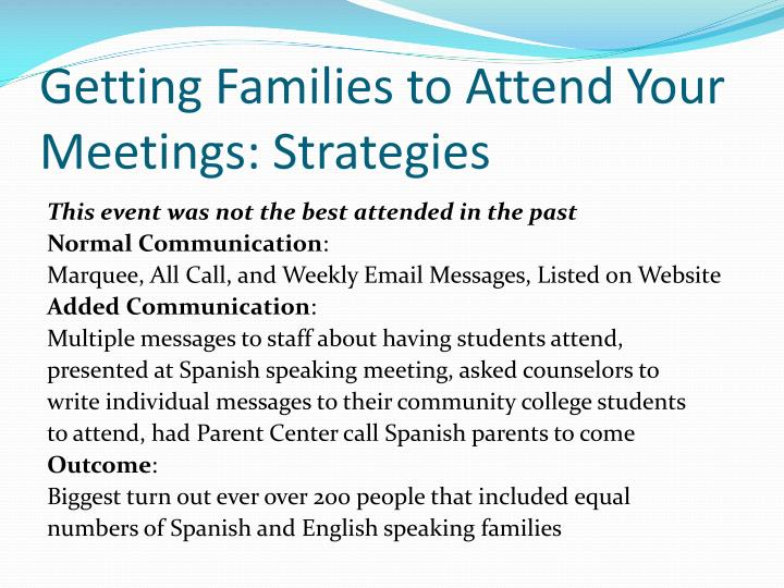 Getting Families to Attend Your Meetings: Strategies