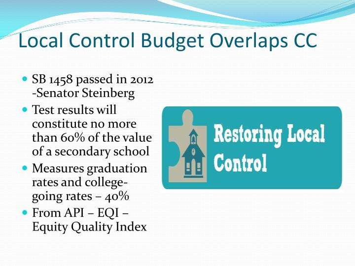 Local Control Budget Overlaps CC