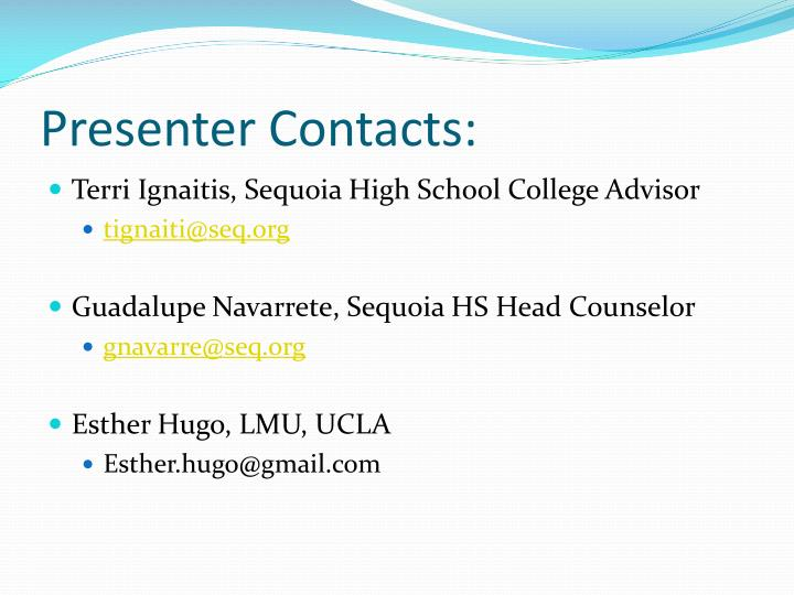 Presenter Contacts: