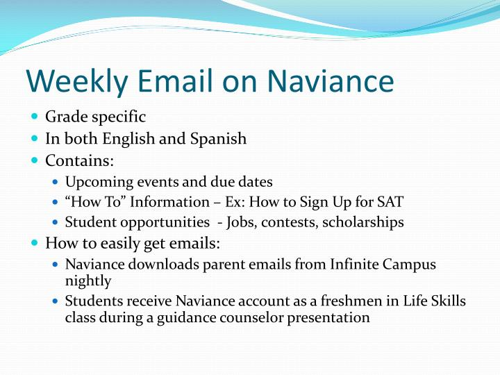 Weekly Email on Naviance