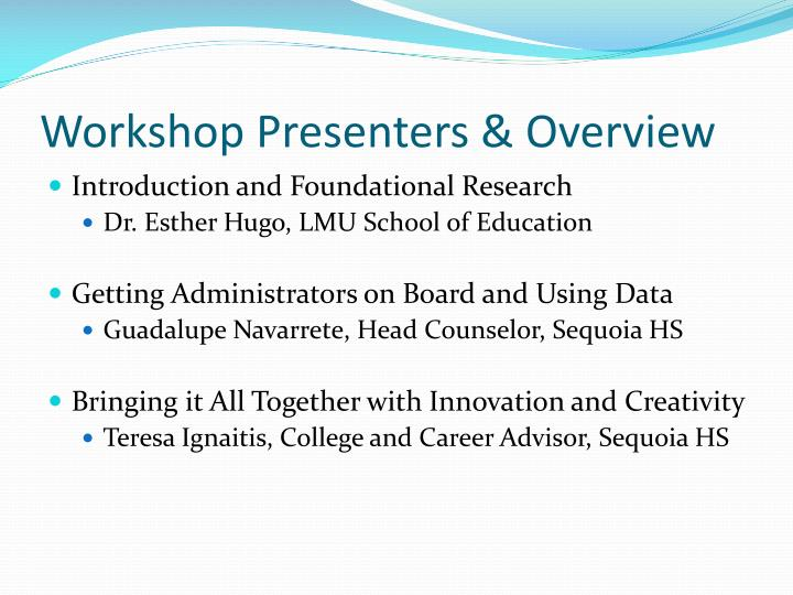 Workshop presenters overview