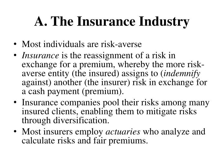 A the insurance industry