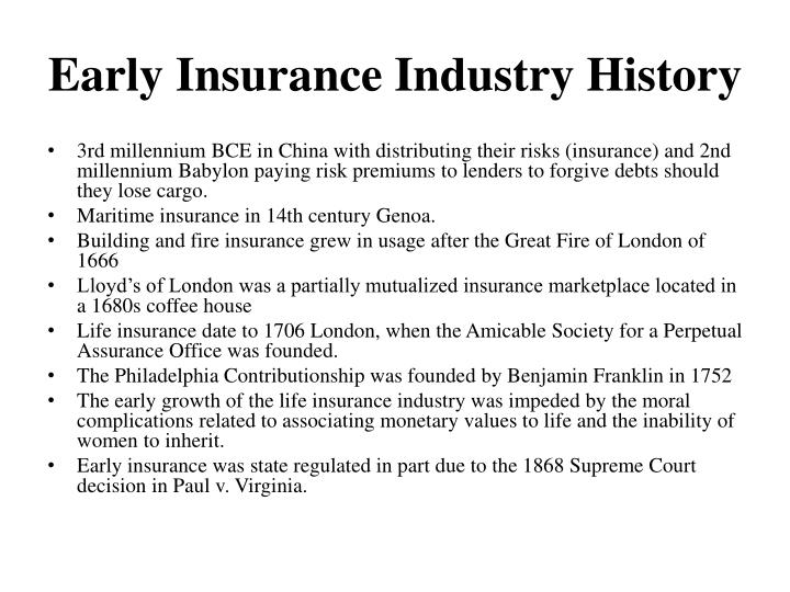 Early insurance industry history