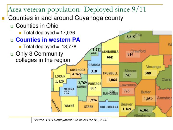 Area veteran population- Deployed since 9/11