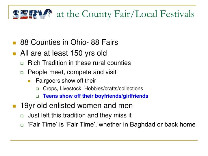 at the County Fair/Local Festivals