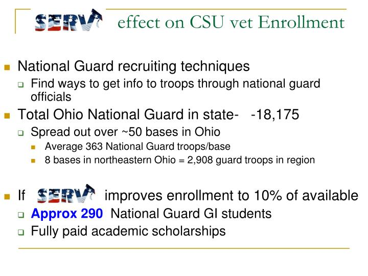effect on CSU vet Enrollment