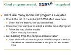 good program created recognized
