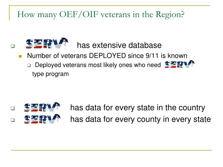 How many OEF/OIF veterans in the Region?