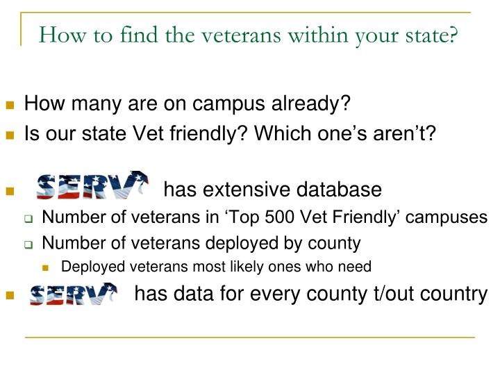 How to find the veterans within your state?