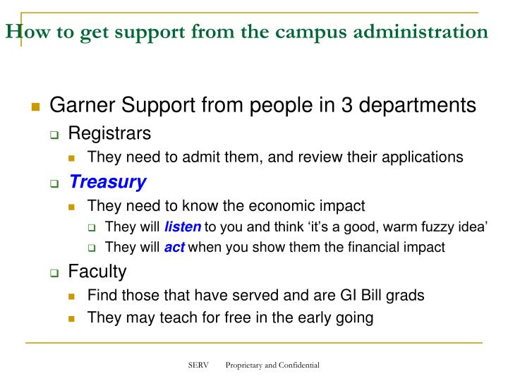 How to get support from the campus administration