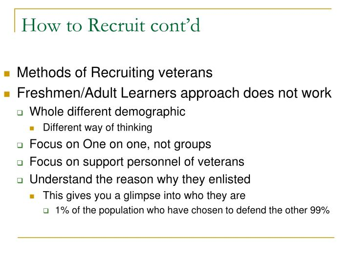 How to Recruit cont'd