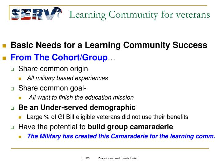 Learning community for veterans