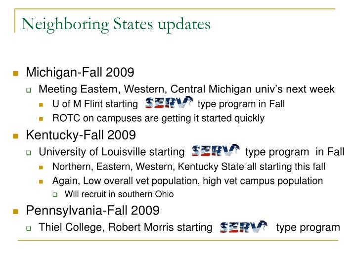 Neighboring States updates