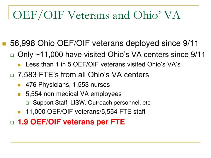 OEF/OIF Veterans and Ohio' VA