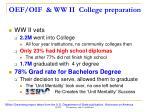 oef oif ww ii college preparation