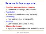 reasons for low usage rate