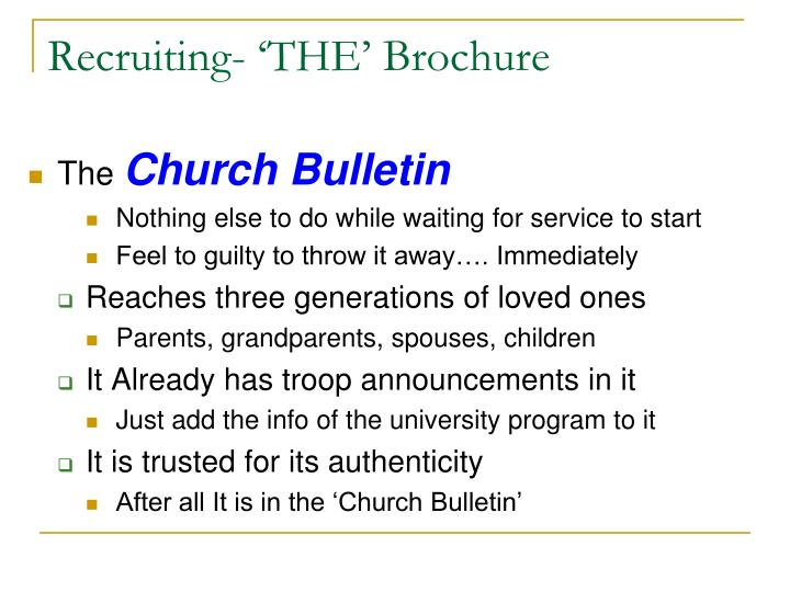 Recruiting- 'THE' Brochure