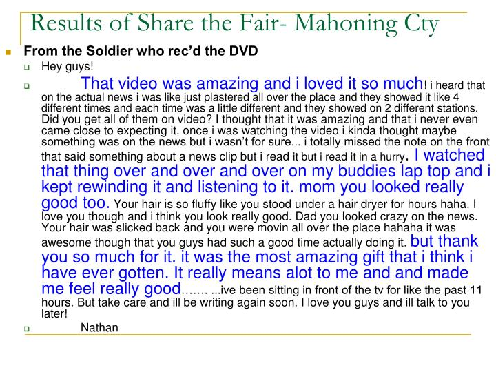 Results of Share the Fair- Mahoning Cty