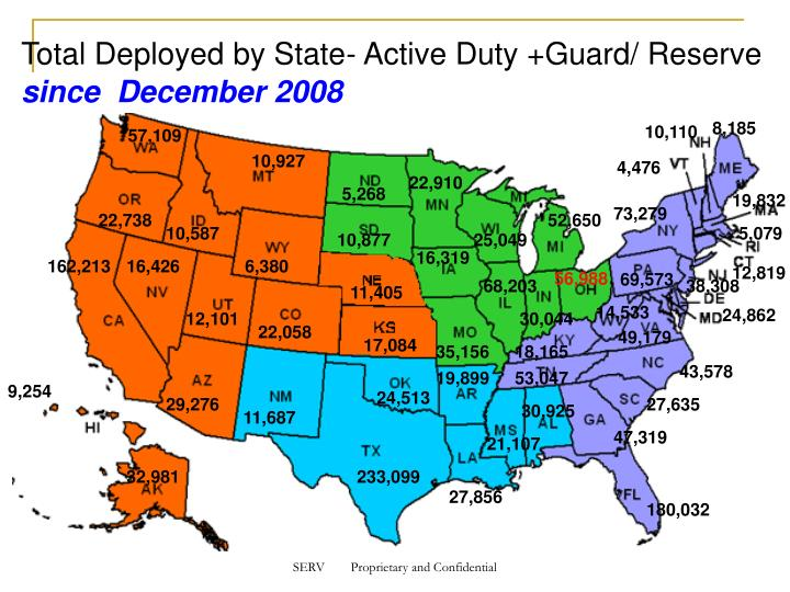 Total Deployed by State- Active Duty +Guard/ Reserve