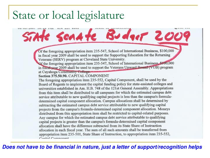 State or local legislature