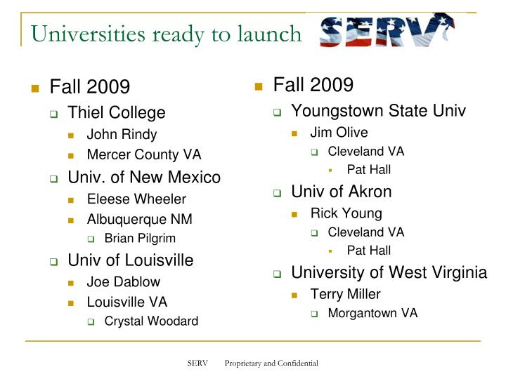 Universities ready to launch