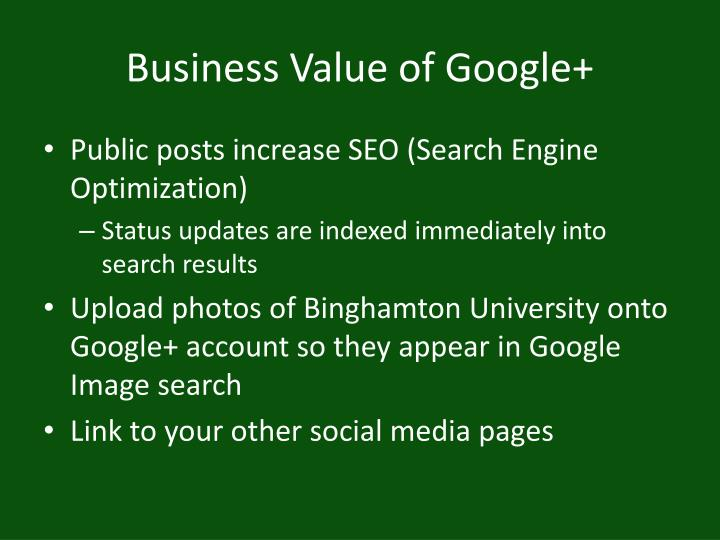 Business Value of Google+