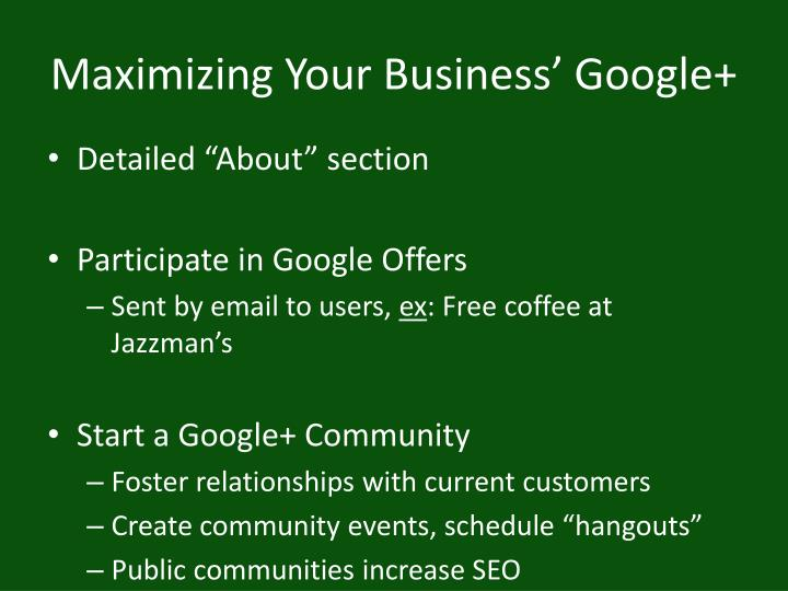 Maximizing Your Business' Google+