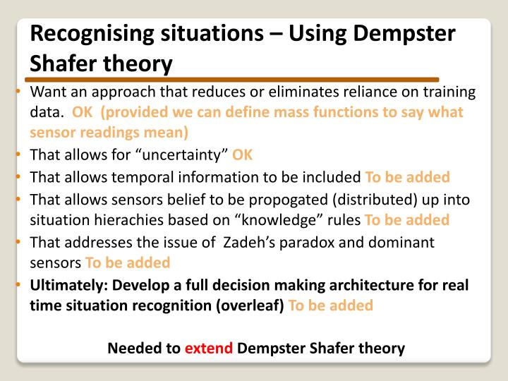 Recognising situations – Using Dempster Shafer theory