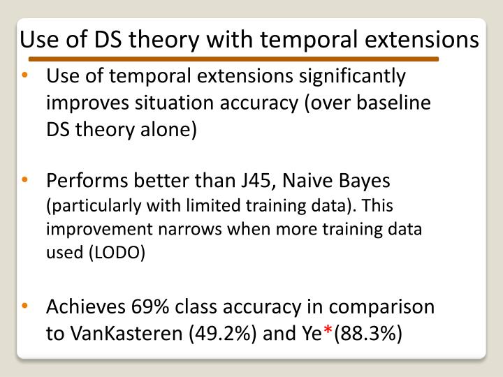Use of DS theory with temporal extensions