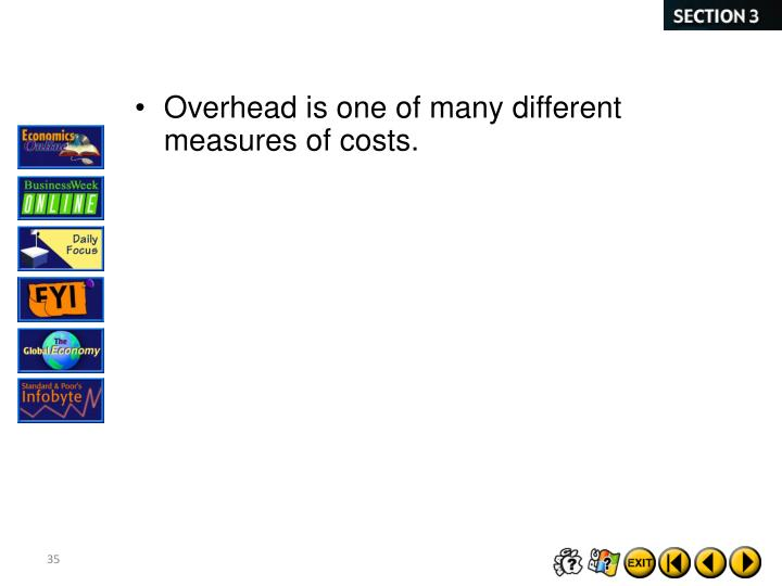 Overhead is one of many different measures of costs.