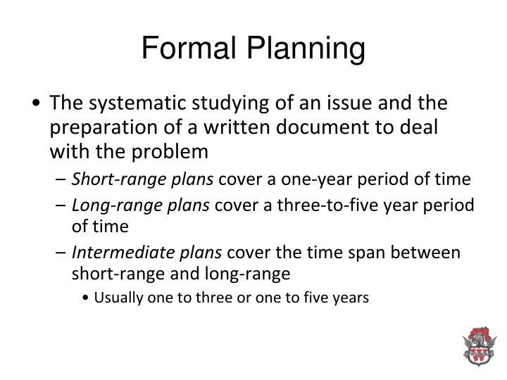 Formal Planning