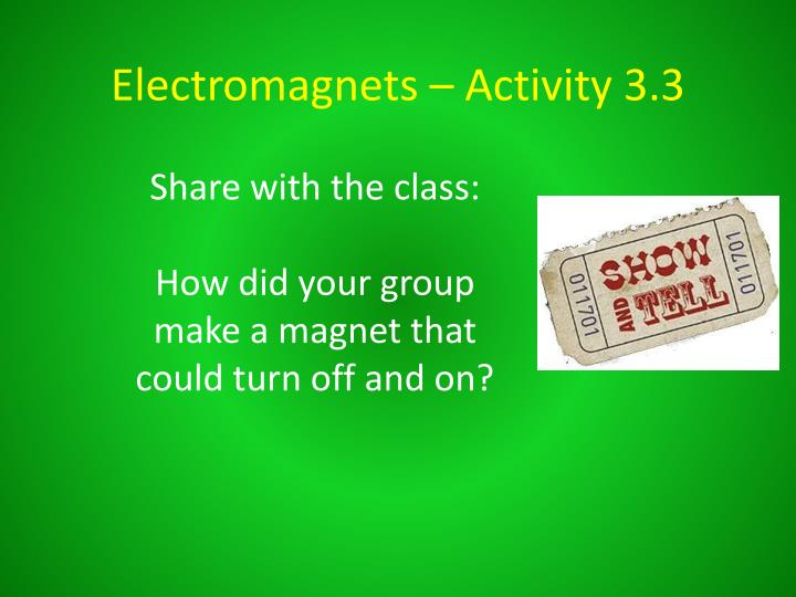Electromagnets – Activity 3.3