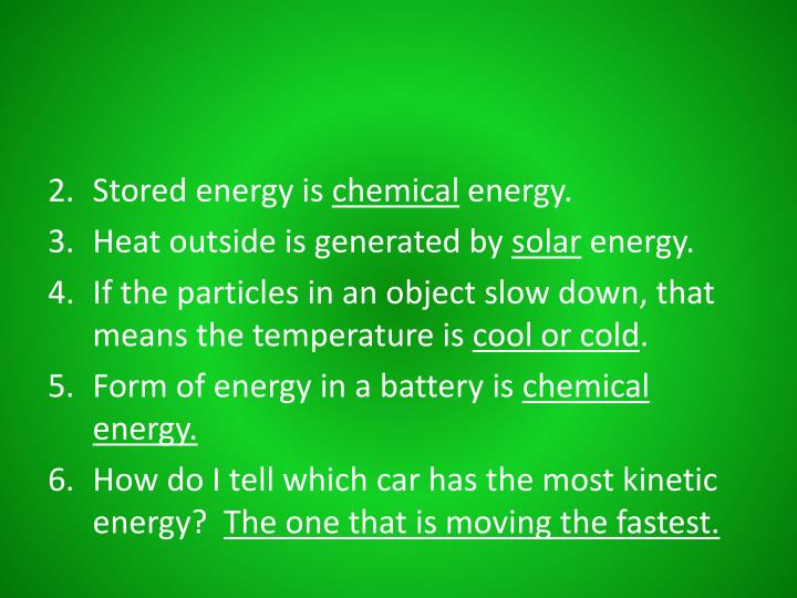Stored energy is