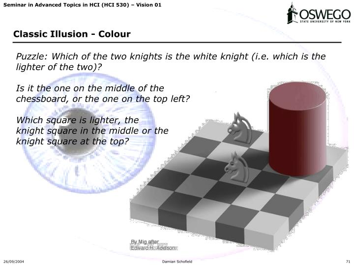 Puzzle: Which of the two knights is the white knight (i.e. which is the lighter of the two)?