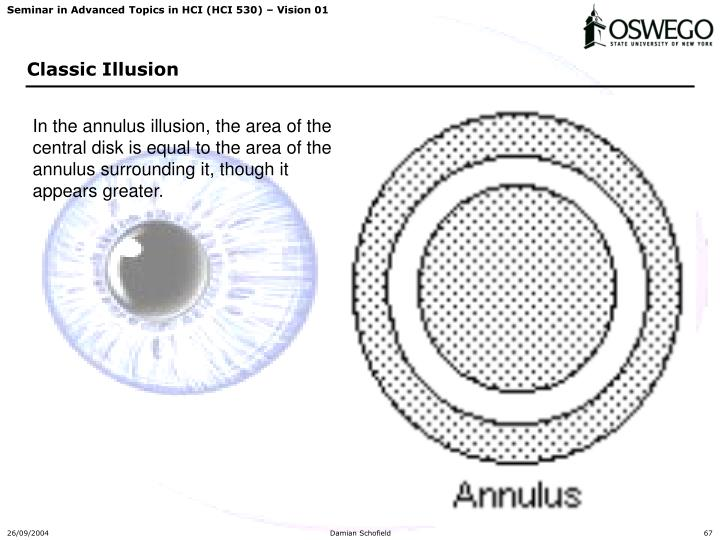 In the annulus illusion, the area of the central disk is equal to the area of the annulus surrounding it, though it appears greater.