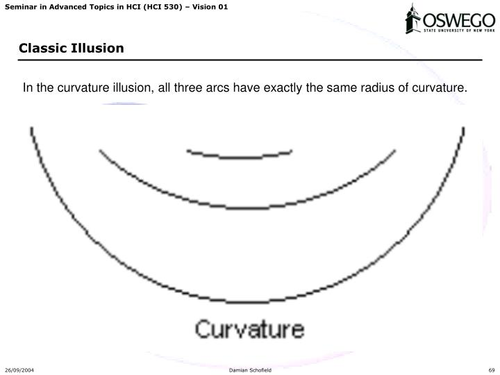 In the curvature illusion, all three arcs have exactly the same radius of curvature.
