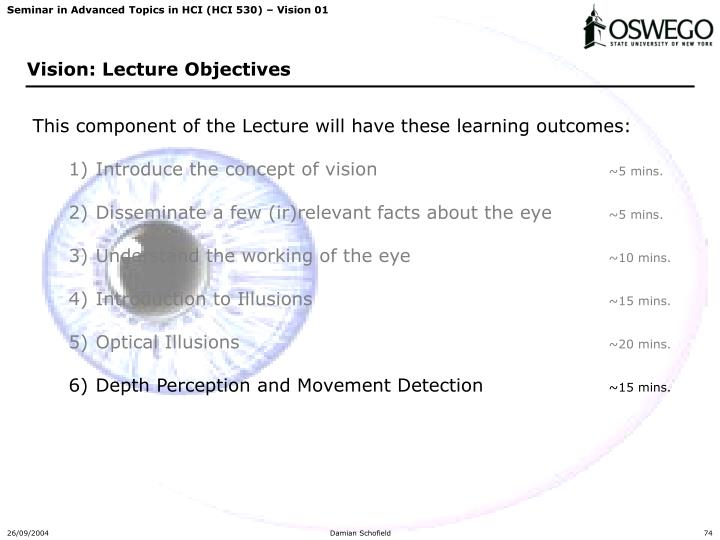 This component of the Lecture will have these learning outcomes: