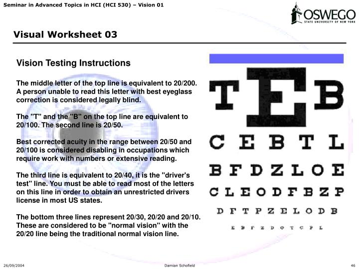 Vision Testing Instructions