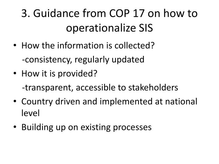 3. Guidance from COP 17 on how