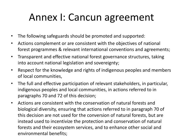 Annex I: Cancun agreement