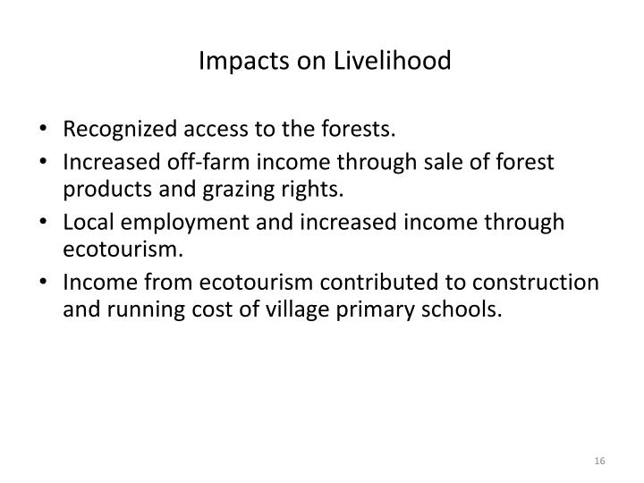 Impacts on Livelihood