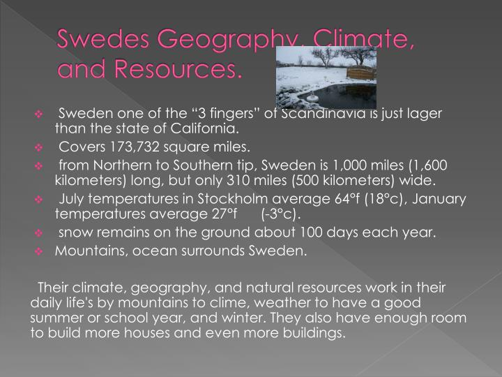 Swedes geography climate and resources