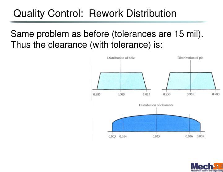 Quality Control:  Rework Distribution