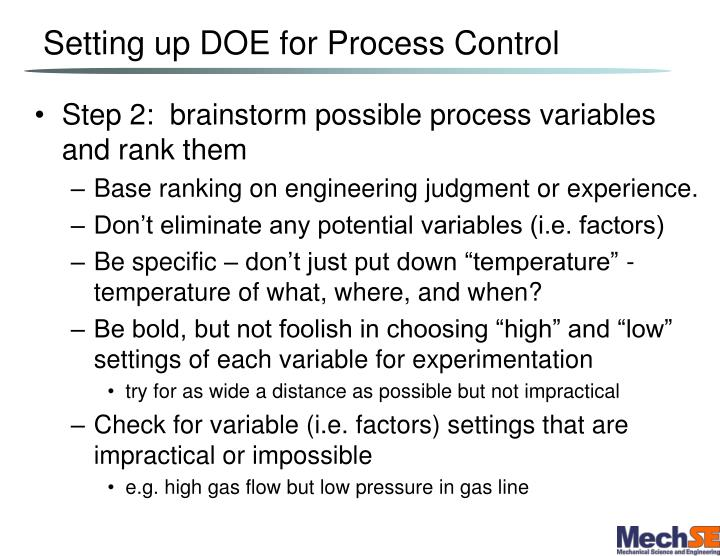 Setting up DOE for Process Control