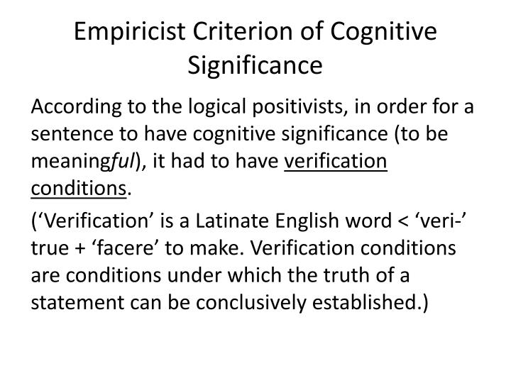 Empiricist Criterion of Cognitive Significance