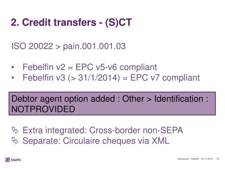 2. Credit transfers - (S)CT