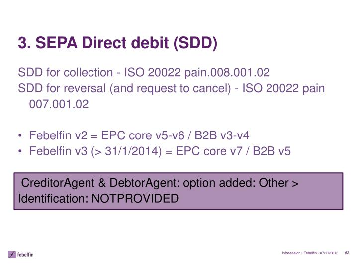 3. SEPA Direct debit (SDD)